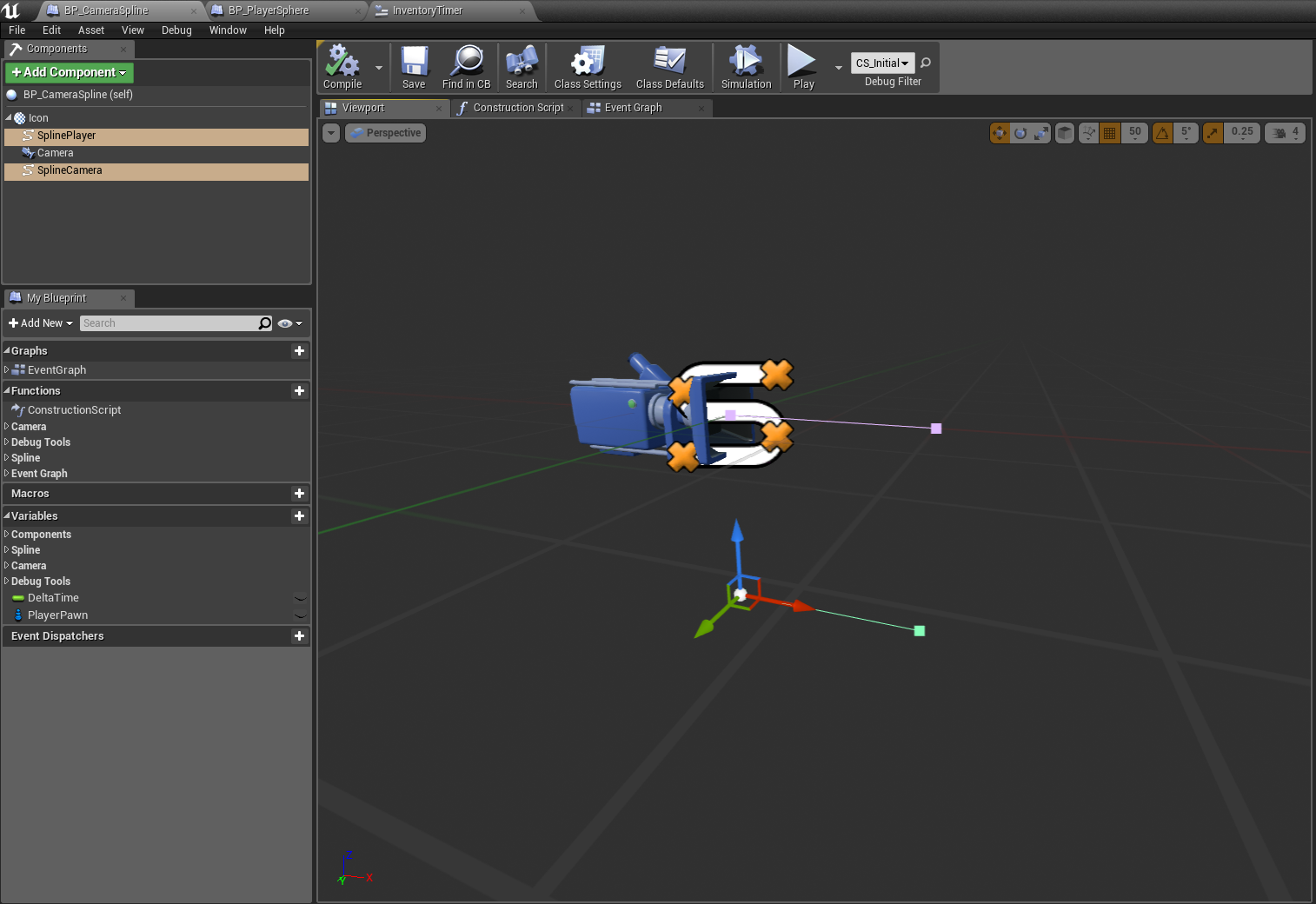 Unreal engine 4 lets make a camera spline system greg mladucky splineactorsetup malvernweather Gallery