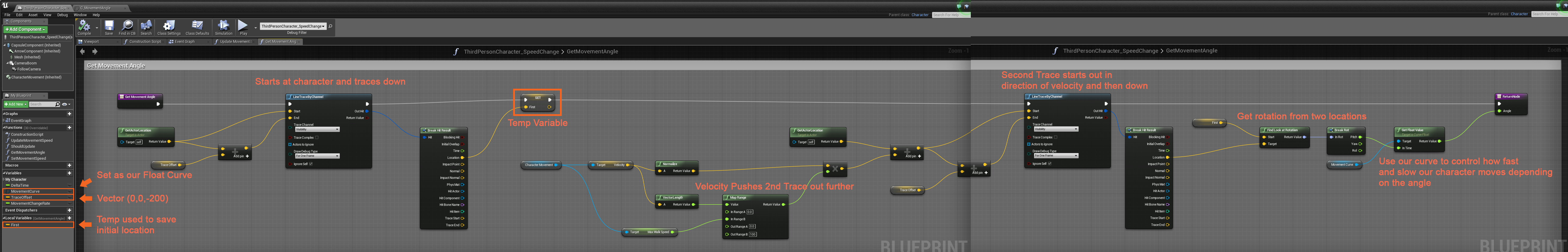 Unreal Engine 4: Let's Make: Character Speed based on Slope
